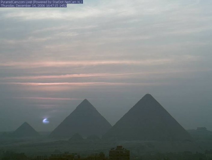 Blue Sun over the Egyptian Pyramids