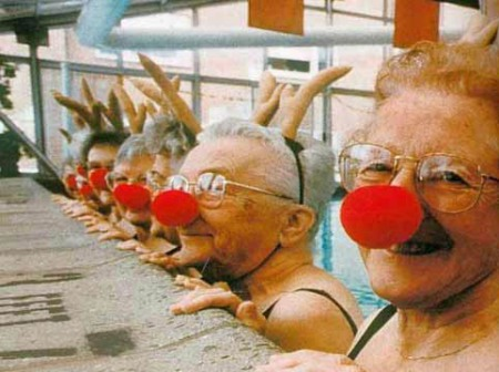 old-women-in-clown-noses-in-pool